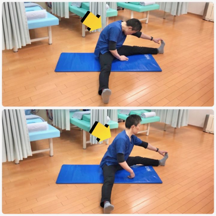 腰痛予防ストレッチ背筋を伸ばして行う
