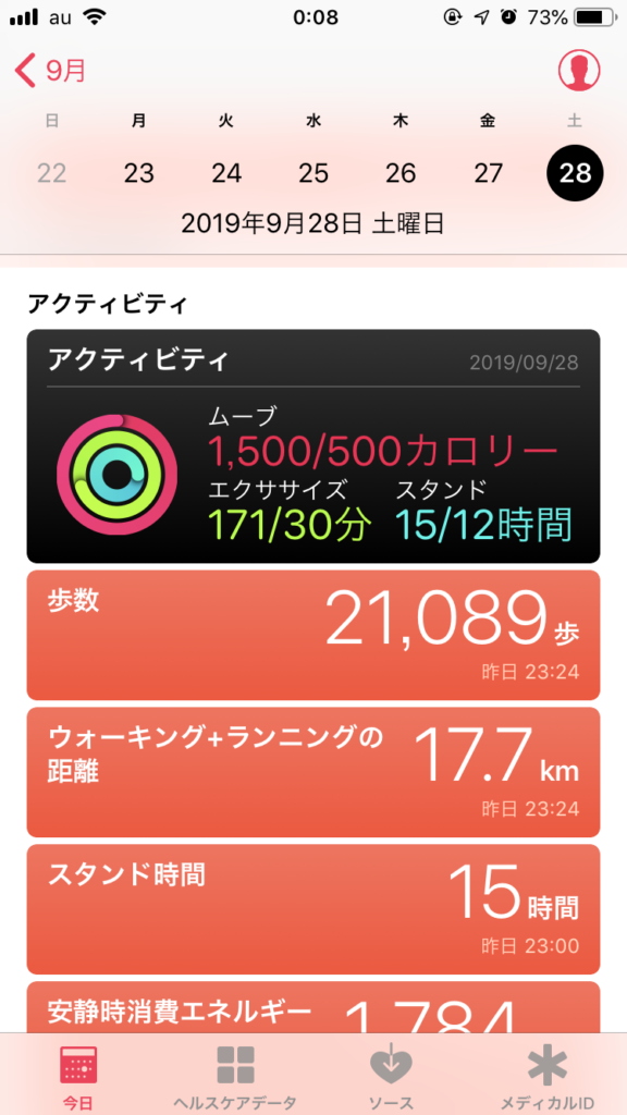 1日の歩数や走行距離などのアクティビティ
